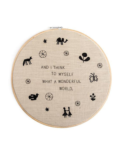 "Wonderful World 18"" Embroidery Hoop"