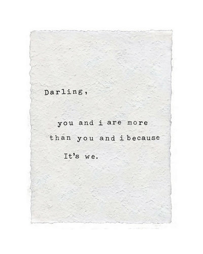 Darling You and I Handmade Paper Art Print