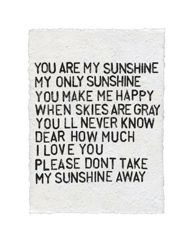 You Are My Sunshine Handmade Paper Art Print
