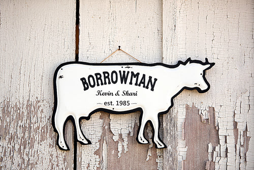 Farmhouse Personalized Cow Hanging Home Decor