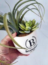 Personalized vase with faux succulents