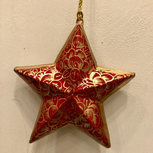 "3"" Star Ornament ~ Hand Painted Kashmir Art"