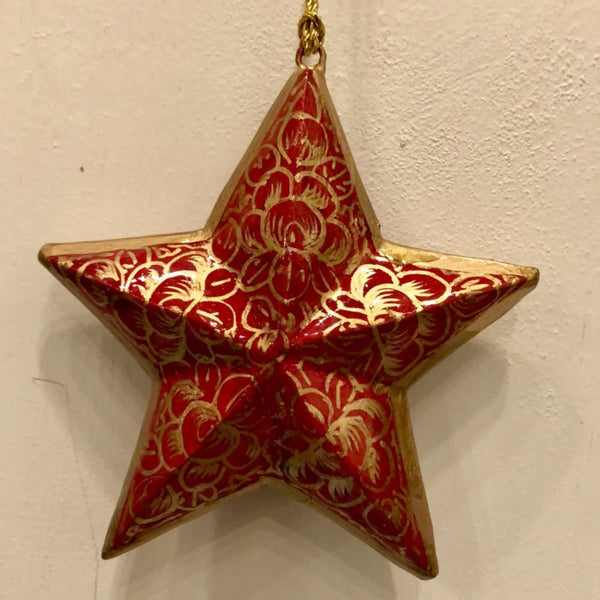 "4"" Star Ornament ~ Hand Painted Kashmir Art"