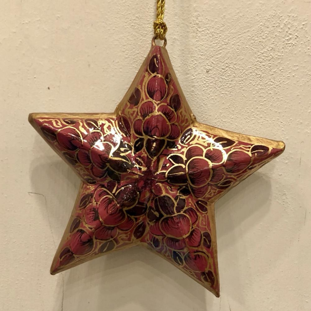 "Painted 3"" Star ~ Paper Mache"
