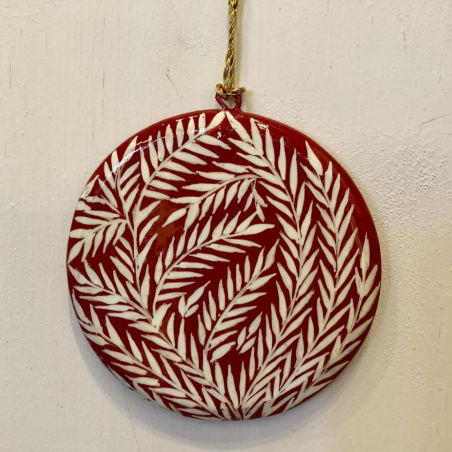 "Red & White Painted Shapes 3"" ~ Paper Mache"