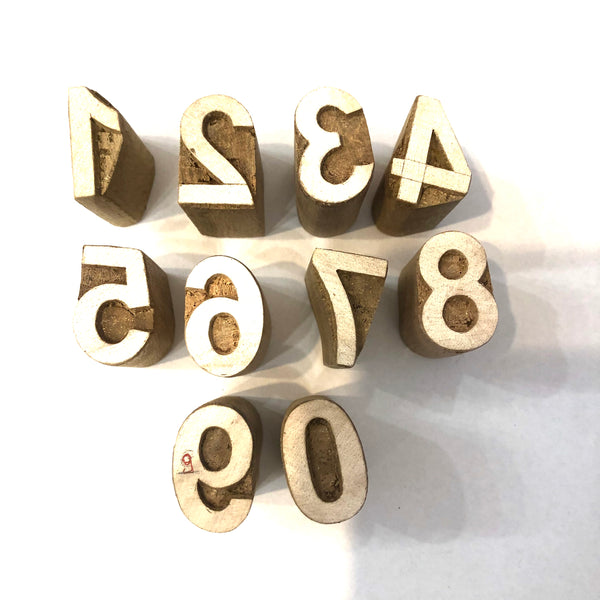 Hand Carved Wooden Printing Block Alphabet/Number Sets