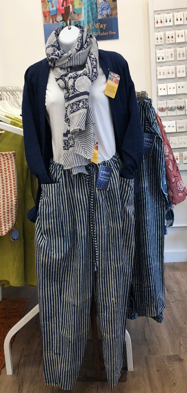 Indigo Stripe Pocket Pants
