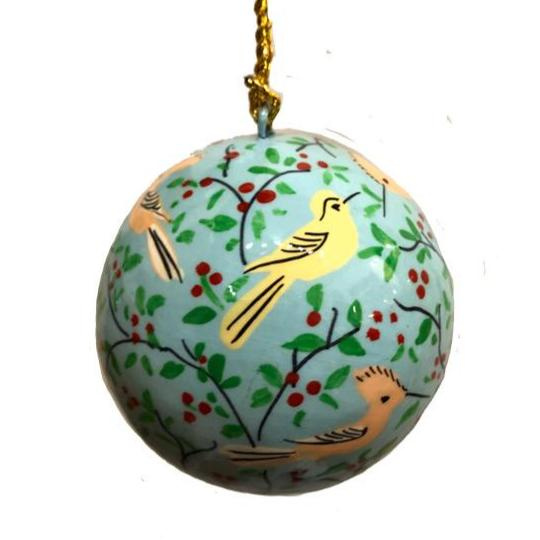 "Ball Ornament 2.25"" ~ Hand Painted Kashmir Art"