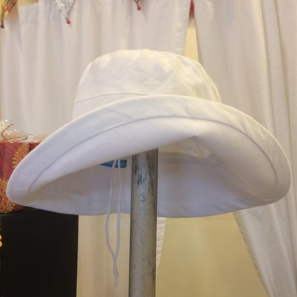 White Cotton Sun Hat