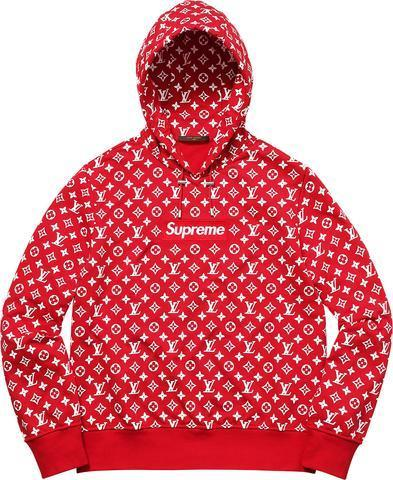 sports shoes daa76 c590f Red Supreme Hoodie - Red Louis Vuitton Box Logo Hoodie - Supreme X Lou –  supremestar