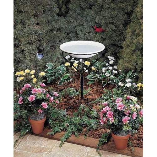 20 in. Bird Bath with Metal Stand - lovethebirds