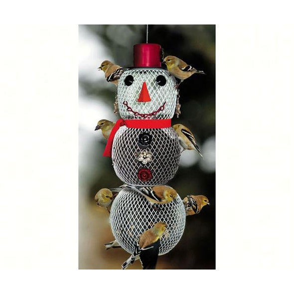 Mrs. Snowman Bird Feeder - lovethebirds