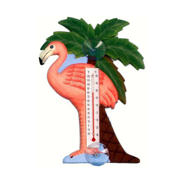 Flamingo Window Thermometer - lovethebirds