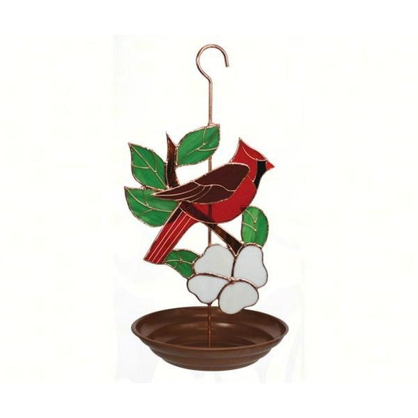 Stained Glass Cardinal Bird Feeder - lovethebirds