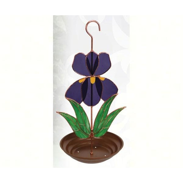 Stained Glass Iris Bird Feeder - lovethebirds