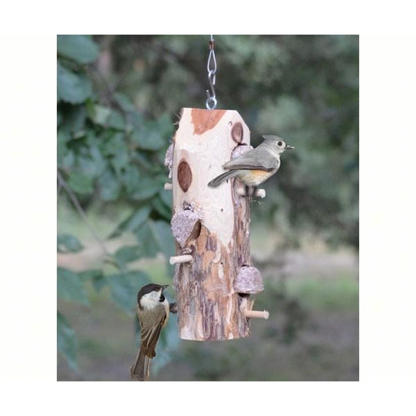 3 Plug Suet Log With Perches - lovethebirds