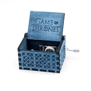 Antique Wooden Hand Crank Music Box (Harry Potter Game Of Thrones Star Wars) - Game Of Thrones Blue