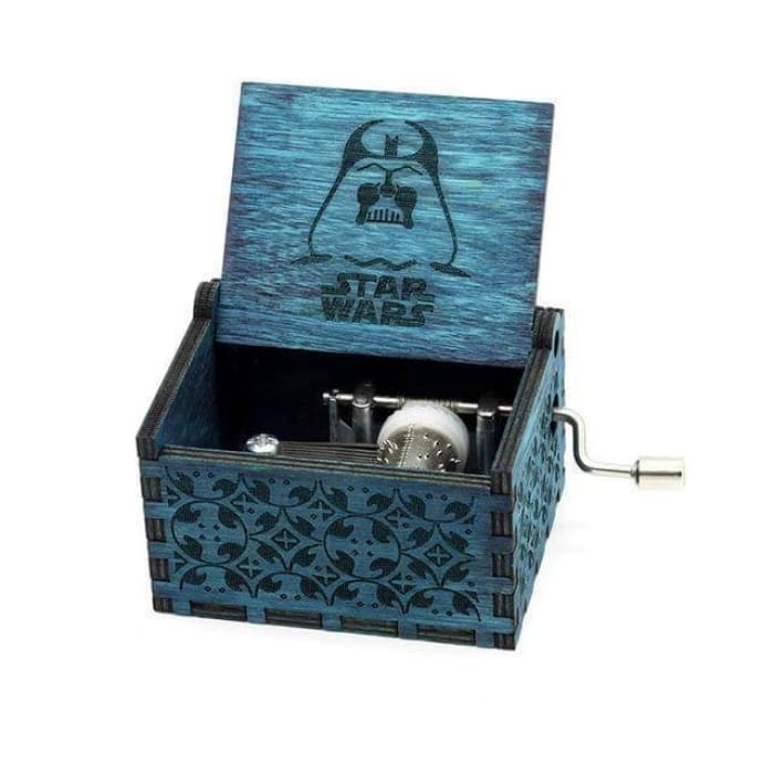 Antique Wooden Hand Crank Music Box (Harry Potter Game Of Thrones Star Wars) - Star Wars Blue