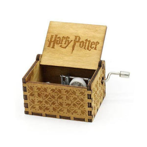 Antique Wooden Hand Crank Music Box (Harry Potter Game Of Thrones Star Wars) - Harry Potter Brown