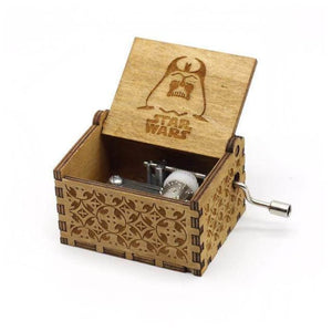 Antique Wooden Hand Crank Music Box (Harry Potter Game Of Thrones Star Wars) - Star Wars Brown