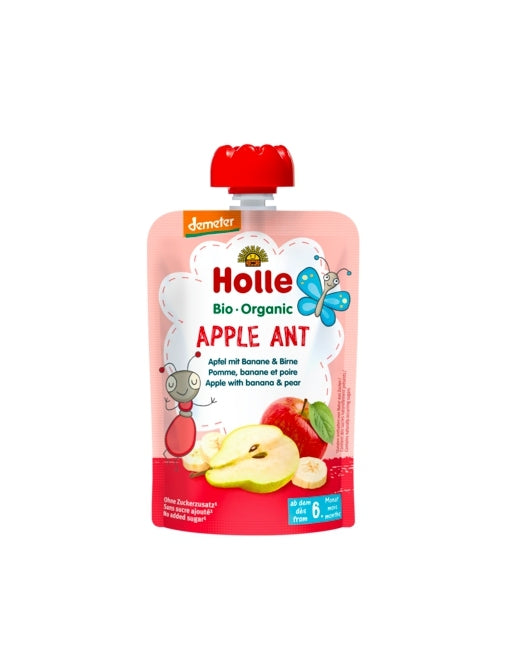 Holle Organic Baby Fruit Pouch - Apple Ant (APPLE with BANANA & PEAR)