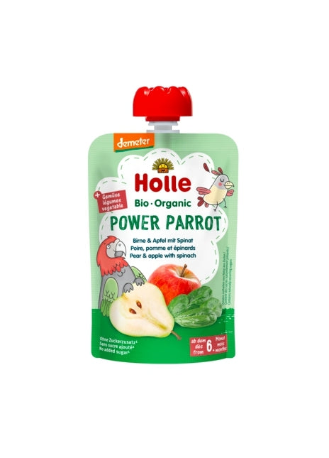 Holle Organic Baby Fruit Pouch - Power Parrot (PEAR & APPLE with SPINACH)