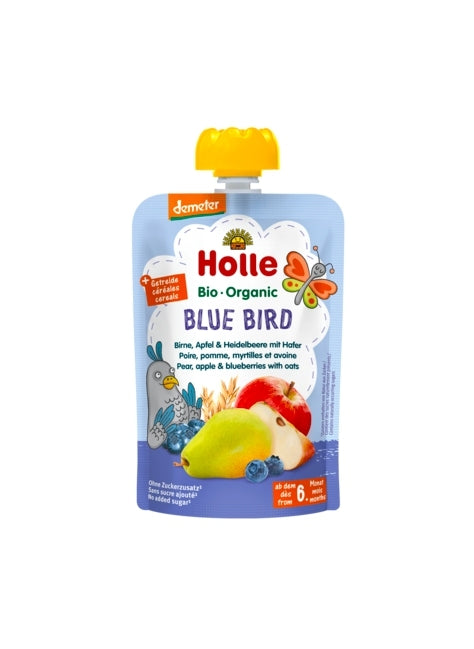 Holle Organic Baby Fruit Pouch - Blue Bird (PEAR, APPLE & BLUEBERRIES with OATS)