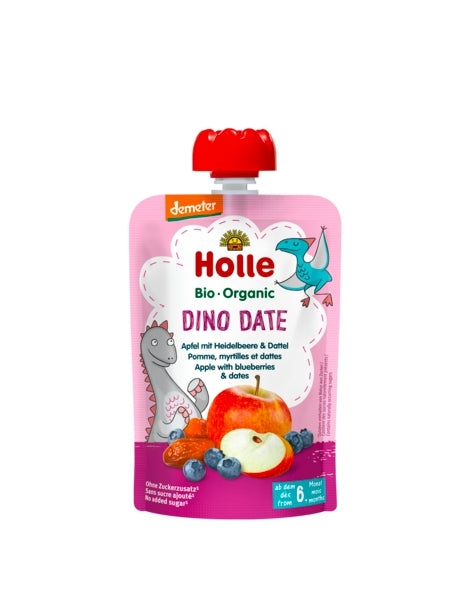 Holle Organic Baby Fruit Pouch - Dino Date (APPLE, BLUEBERRIES with DATES)
