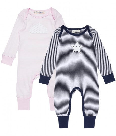 Baby Growsuit striped, navy or rose, Wayan in Organic Cotton