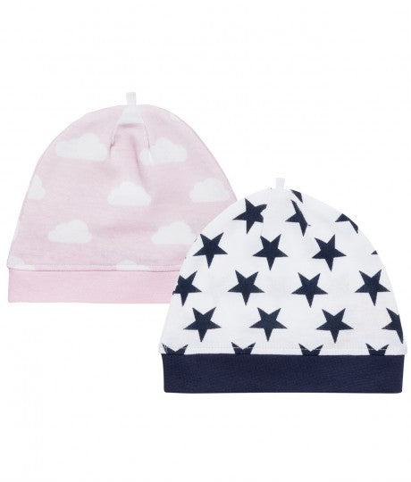 Baby Hat with stars or cloud, navy or rose, in Organic Cotton