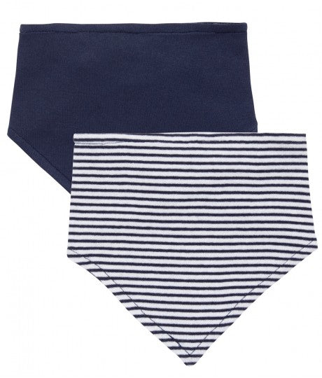 Baby Scarf striped, navy or rose, Dribble Bib in Organic Cotton