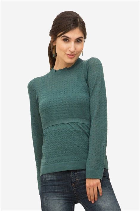 Ally - Green Nursing pullover with frill neck in wool