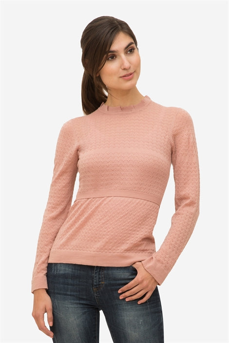 85a5f5d5f Ally - Rose Nursing pullover with frill neck in wool – Little Wonder ...