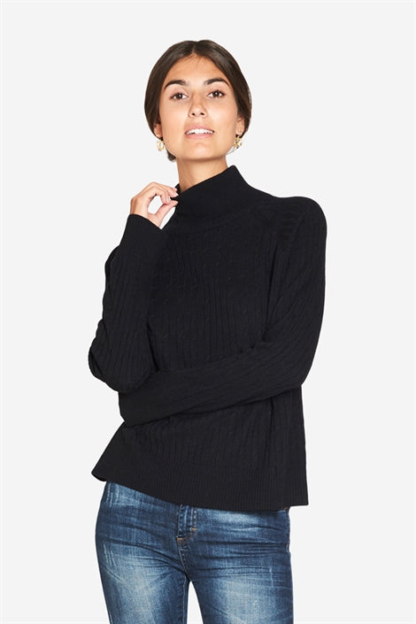 Rosa - Black high-neck nursing blouse with long sleeves