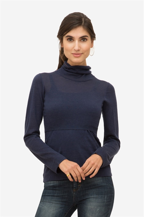 Ayodele - Deep blue nursing top with roll neck