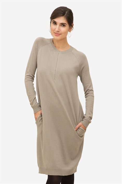 Chloe - Grey nursing dress with zipper nursing opening