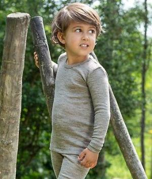 Children's shirt long sleeved , organic wool/silk