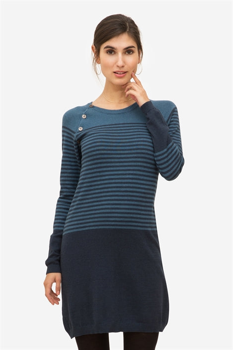 Eva - Black/creme striped nursing dress in 100% organic cotton