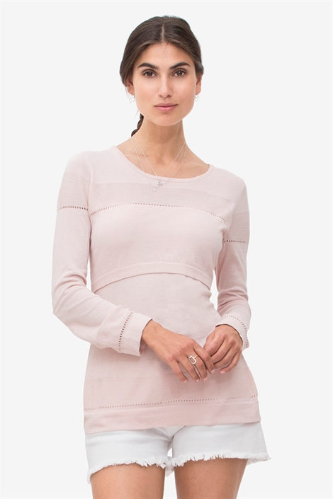 Mathilde - Soft lavender nursing shirt with fine knit pattern