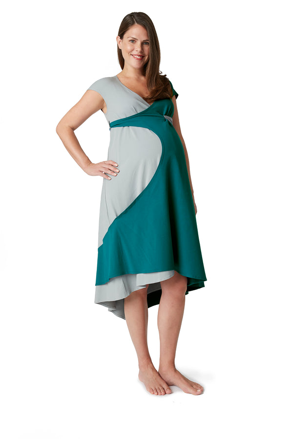 Cap Sleeve Transition Gowns for Maternity Birth & Nursing