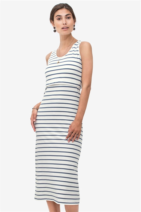 Silvia - Long nursing dress with blue stripe in organic cotton