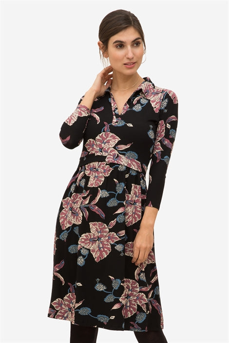 Zira - Flower print nursing dress with collar