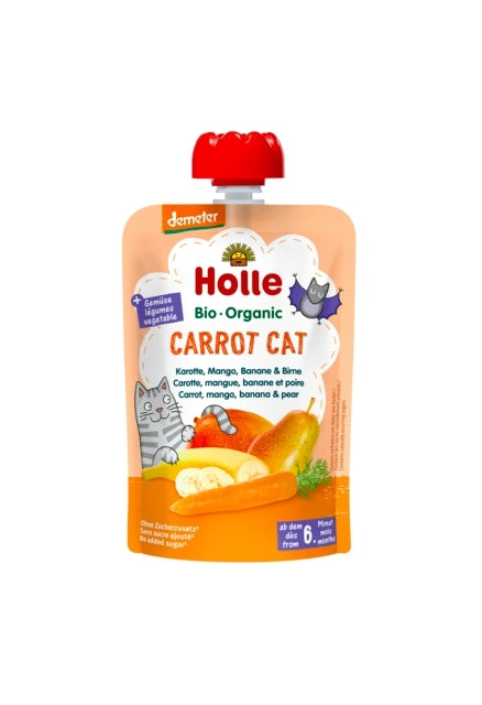 Holle Organic Baby Fruit Pouch - Carot Cat (CARROT, MANGO, BANANA & PEAR)