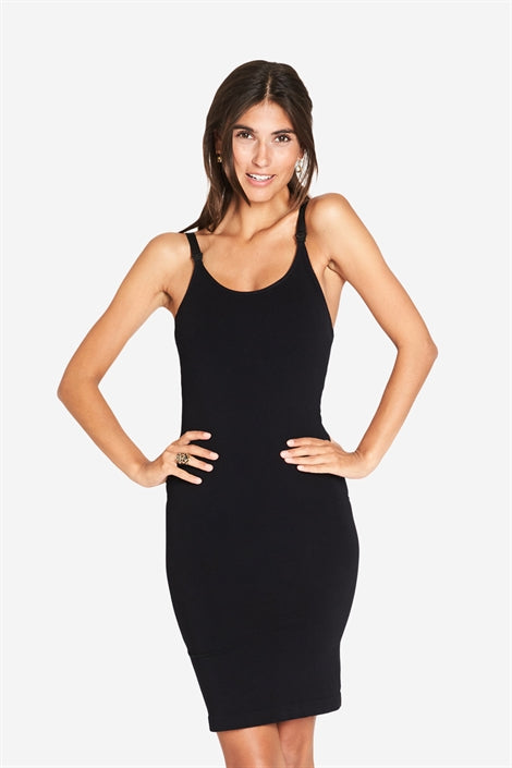 Bess - Long strap nursing dress in black