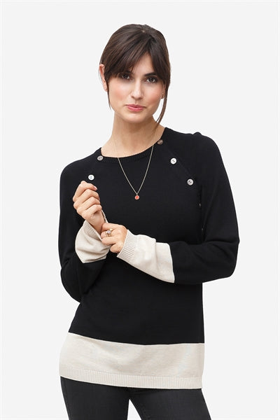 Lea - Black nursing pullover in wool with cream bottom