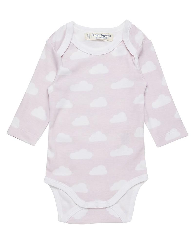 Tie-bodysuit longsleeve, pink cloud, in Organic Cotton