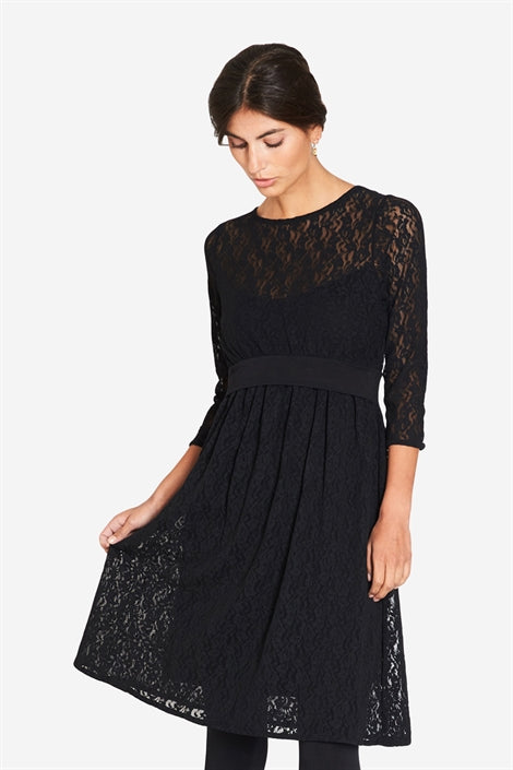 Zenobi - Black Lace nursing dress with Underdress