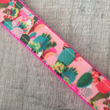 Dog Collar - Pink Cactus with Metal Buckle - Size Large