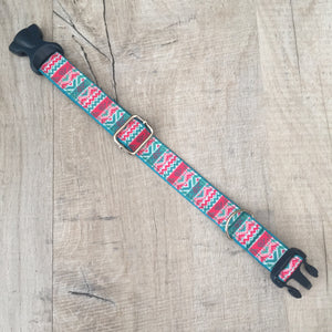 Dog Collar - Aztec with Navy Plastic Buckle - Size Small