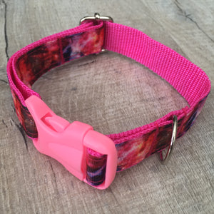 Dog Collar - Galaxy with Light Pink Plastic Buckle - Size Medium